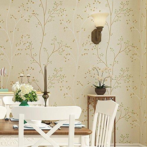 JSLCR US-amerikanischer Country Vintage Wand Papier Vliestapete Wohnzimmer Wohnzimmer TV Hintergrund Wand Garten,M weiss