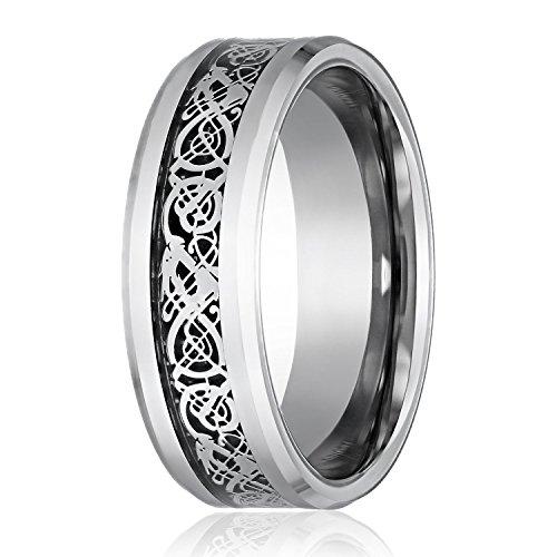 Bague d'homme - TOOGOO(R)Bague d'ecaille de dragon de motif de dragon bords biseautes celtiques bijoux demi-jonc pour hommes argent 10