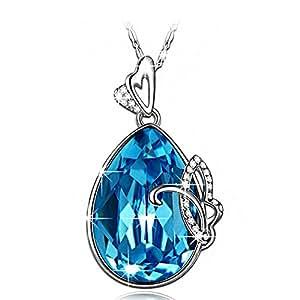 Lady colour Farfalla Collana donna con cristalli da Swarovski Gioielli blu regalo donna compleanno festa della mamma regalo san valentino regalo natale regali per lei amica anniversario moglie figlia