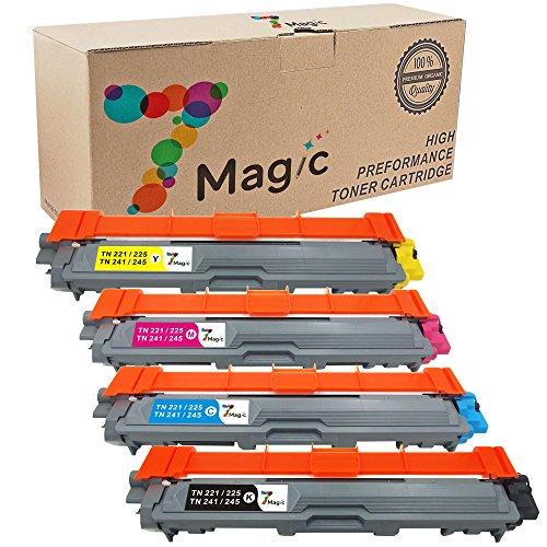 Preisvergleich Produktbild 7Magic Kompatibel Brother TN241 TN245 Toner Patronen (Schwarz/ Cyan/ Gelb /Magenta, 4 Pack) für Brother MFC-9140cdn MFC-9330cdw HL-3140cw HL-3150cdw DCP-9020cdw DCP-9015cdw Drucker