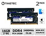 Timetec Hynix IC Apple 32GB Kit (2x16GB) DDR4 2400MHz PC4-19200 SODIMM Memory Upgrade For iMac Retina 4k/5K 21.5-inch/27-inch Mid 2017 (16GB Kit (2x8GB Single Rank))
