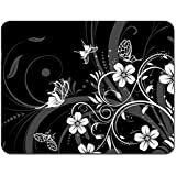 Meffort Inc Standard 7 X 9 Inch Mouse Pad - Black White Flower Butterfly Black White Flower Butterfly