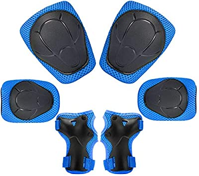 Kids Protective Gear Set, 7 in 1 Adjustable Bike Helmets for Roller Skating Skateboard BMX Scooter Cycling Age 3-8 Years Old Boys Girls (Knee Pads+Elbow Pads+Wrist Pads+Helmet) by KUYOU