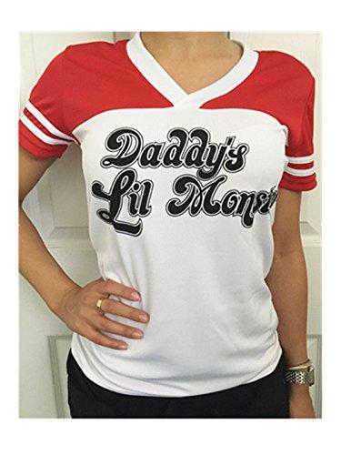 Nuefashion Daddy's LiL Monster t-Shirt short Sleeved Unisex Baseball T Shirt. Ideal Fancy Dress, Halloween Party Top t shirt Little Monster