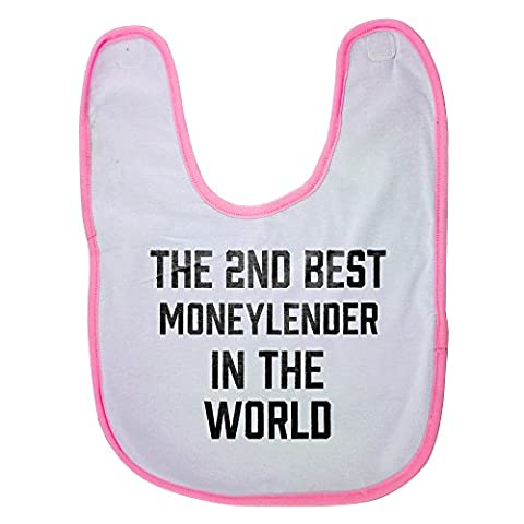 Bib Secondes - Pink baby bib with THE 2ND BEST