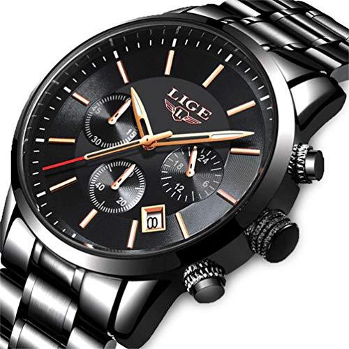 d0779f70e8e8 Lige Reloj de Los Hombres Moda Reloj de Acero Inoxidable a Prueba de Agua  Cronógrafo de