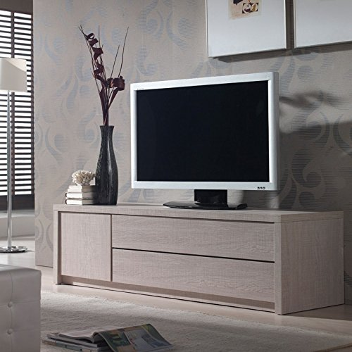 Meuble TV Chêne clair - HONORE n°2 - L 151 x l 45 x H 46 - NEUF