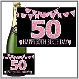 Eternal Design Flaschenetikett zum 50. Geburtstag Champagner... pink glitter
