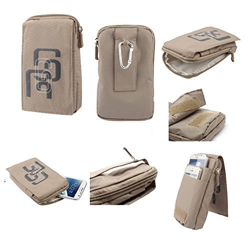 "DFV mobile - Multi-functional Universal Vertical Stripes Pouch Bag Case Zipper Closing Carabiner for =>     APPLE IPHONE 6 [4,7""] > PURPLE (16 x 9.5 cm) BEIGE (16 x 9.5 cm)"