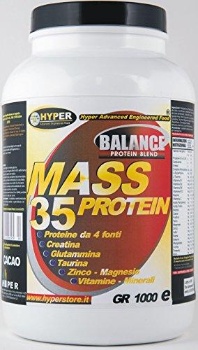 Hyper  Mass 35 Proteine Aumento Massa Muscoli con Creatina, Gusto Vaniglia