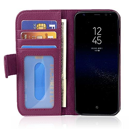 Cadorabo Hülle für Samsung Galaxy S8 - Hülle in Bordeaux LILA – Handyhülle mit 3 Kartenfächern - Case Cover Schutzhülle Etui Tasche Book Klapp Style