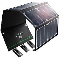RAVPower 24W Solarladegerät mit 3 USB iSmart-Port (21,5-23,5% Umwandlungseffizienz, leicht, faltbar, wasserdicht) für Camping Wanderung Bergsteigerei für iPhone X XS XR XS Max 8 7 6 Plus, iPad Pro Air Mini, Galaxy S9 S8 Plus, LG, Huawei, HTC, Lautsprecher usw.