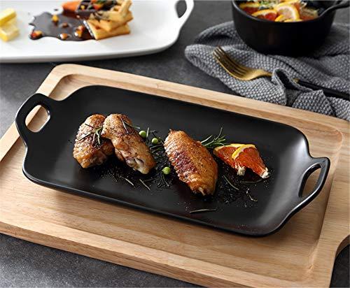 CXQ-Dining plate Assiette à dîner rectangulaire en Porcelaine, Noir 29,5 * 16,5 cm