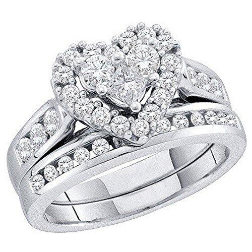 1.04Karat (ctw), 14K Weiß Gold Round & Princess Cut weiß Diamant Damen Herz Engagement Ring Set 1CT (1-karat-diamant Ring Princess Cut)