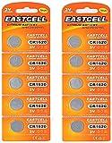 EASTCELL 10 x CR1620 3V Lithium Knopfzelle 70 mAh (2 Blistercards a 5 Batterien) EINWEG Markenware