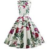 SEWORLD Elegant Kleid Damen Heißer Einzigartiges Design Mode Frauen Elegant Abendkleid Vintage Bedrucktes Lässige Abend Party Prom Swing Kleid Ärmelloses Kleid(X2-2-weiß3,EU:38-40/CN:XL)