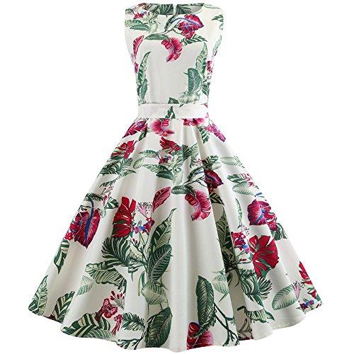 VEMOW Einzigartiges Design Elegante Cocktailkleid Ballkleid Damen Frauen Vintage Druck Bodycon Sleeveless Halfter Abendkleid Prom Swing Dress(Weiß 3, EU-34/CN-M)