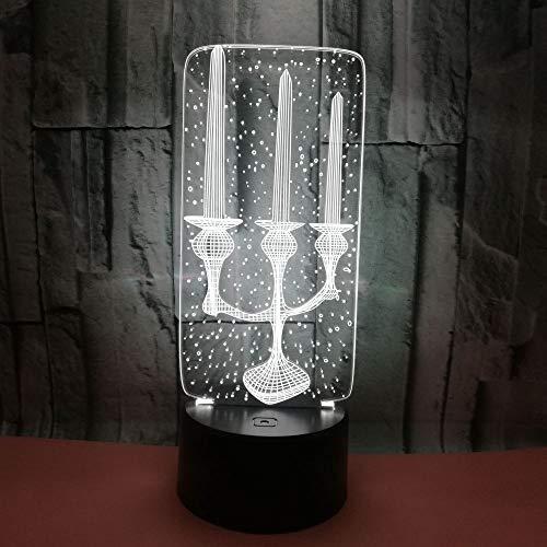Kerze-lampen-basis (Led Lampe,3D Led Dekorative Beleuchtung Kabel Kerze Kerzenhalter Geformt Usb Multicolor Schlafzimmer Nachtlicht Festival Freunde Geschenke Tischlampe Weiß Riss Basis)