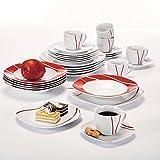 Malacasa, Serie Felisa, 60 tlg. Tafelservice aus Porzellan, Kombiservice Abgerundet Geschirrset, mit je 12 Kaffeetassen, 12 Untertassen, 12 Dessertteller, 12 Suppenteller und 12 Essteller für 12 Personen