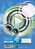 LANDRE 100050486 Ringbucheinlagen A4 50 Blatt liniert weißer Rand 70 g/m² runde Ecken gelocht Ringbuch-Einlage Papier-Einlage