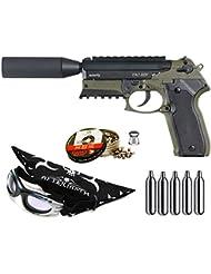 Outletdelocio. Pack pistola Perdigón Gamo Tac 82X 4,5mm. Potencia 3,4 Julios + gafas antivaho + pañuelo cabeza decorado, + balines + bombonas co2