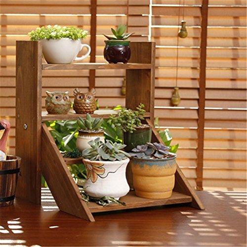 ZXZ-GO Support de Bambou Pliable de 3 Niveaux Étagère de Pot de Plante de Fleur Échelle de Tablette pour Jardin extérieur, Brown