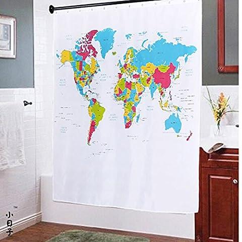 Sannix la carte du monde Rideau de douche en PEVA avec 12crochets (177,8x 177,8cm)