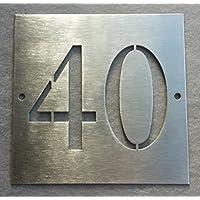 Numero civico in acciaio con fori_due cifre traforate_12x12 cm