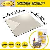 Kaminglas und Ofenglas 300 x 250 x 4 mm | Temperaturbeständig bis 800° C | » Selbstreinigend « | inkl. 10 x 2 mm Kamindichtung