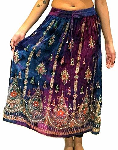 Gonna lunga colorata da donna, stile indiano/bohémien/hippie/gipsy, con paillettes, estiva, prendisole, maxi gonna per la danza del ventre 13 medium