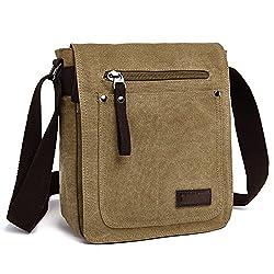 E-bestar Herren Canvas Tasche Vintage Canvas Handtasche Schultertasche Ideal Für Büro Canvas Retro Tasche Für Ipad Umhängetasche Vintage (Khaki)