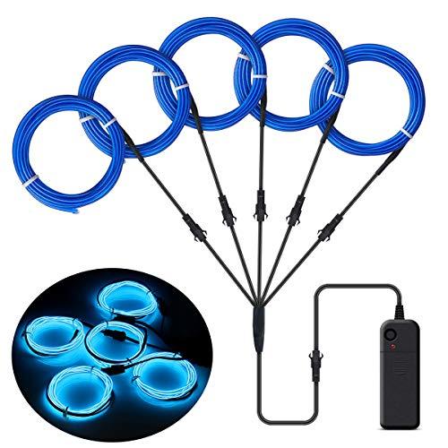Easy Kostüm Men's - SZILBZ 5 x 1m EL Wire Neon Beleuchtung, Kabel Neon Seil Lichter,flexible Neonlicht für DIY Weihnachtsfeiern Rave Partys Halloween Kostüm Blau