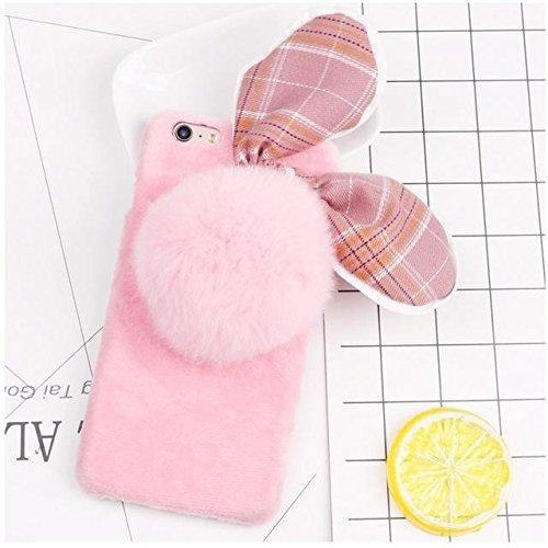 Motif Lapin doux Furry silicone Retour Téléphone pour iPhone 7 pink