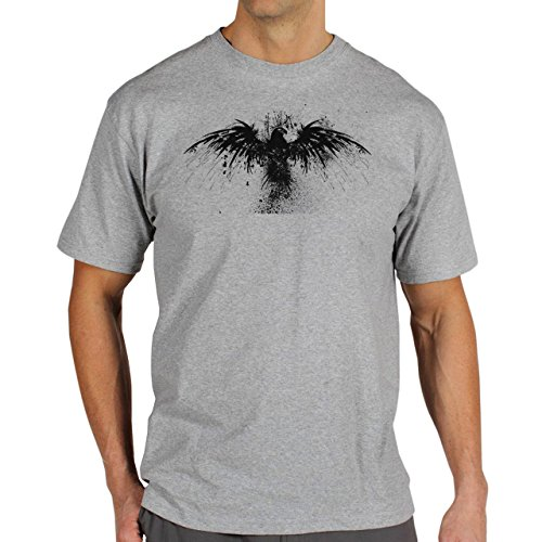 Skull Deep Bird Background Herren T-Shirt Grau