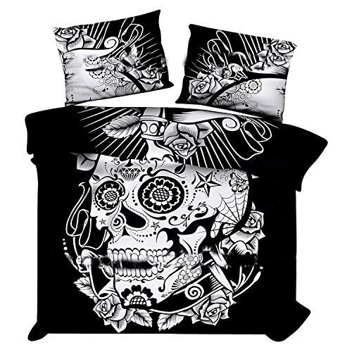 Marusthali Schwarz und Weiß Skull Bettbezug mit Kissenbezügen Indian Donna Cover Set Boho Bettbezug. Böhmisches Bettdecke-Bett in Einem Beutel eingestellt mit Bettlaken (Schwarze Bettdecke Bett In Einem Beutel)