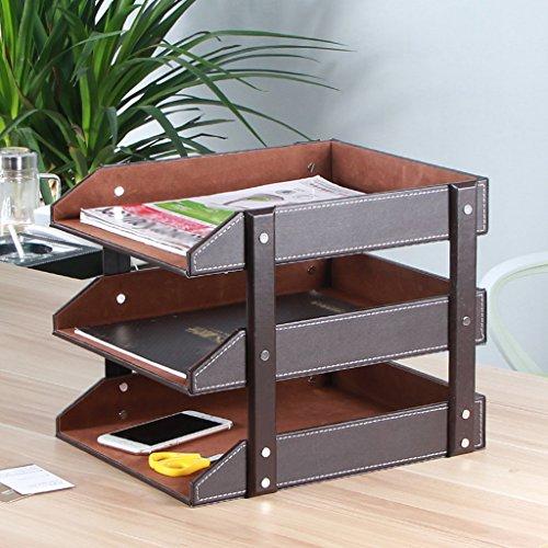 Aktenhalter Leder Lagerregal Bücherregal Datenregal Büro Desktop Drei Etagen Bücherregal,Brown (Brown-leder-bücherregal)