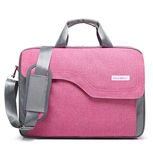 CoolBELL 17,3 Zoll Laptop Tasche Nylon Schultertasche mehrfach Abteil Messenger Bag Handtasche Tablet Aktentasche für Laptop / Tablet / Macbook,Rosa