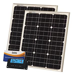 80W (40W+40W) Photonic Universe solar panel kit for motorhome, caravan, boat or any 12/24V battery system (made of German solar cells)