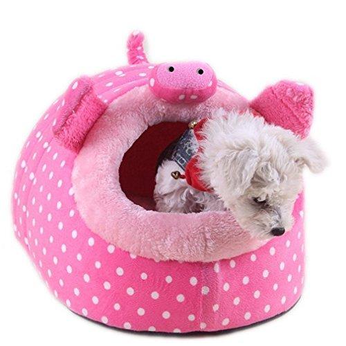 MAGIC UNION Hundehöhle Hundehöhle Tierbett Hundebett Hundesofa Korbmit Schlafplätze Kissen für Pet Hund Katze Haustier in Tiere Rosa Schwein und 3 Größen(S/M/L) wählbar