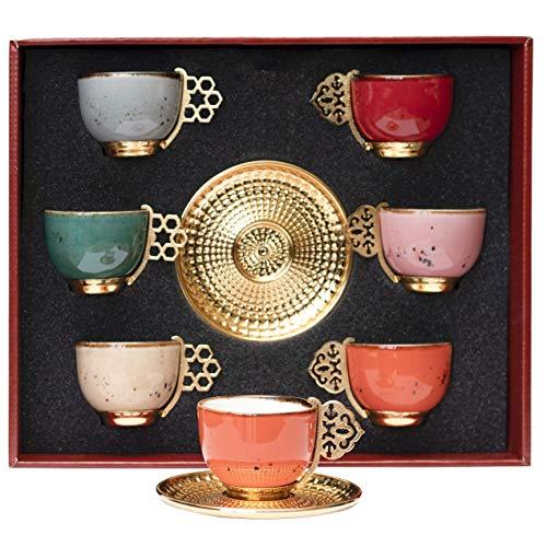 alisveristime 12PC Türkische Griechischen Arabische Kaffee Espresso Tasse Untertasse Porzellan Set Mixed Color
