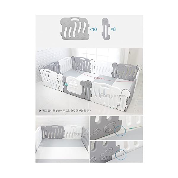 iFAM Shell BabyRoom Playpen Multi Safety Support/Corner Panel/Safe Holder/Fit-In Panel (Grey, Fit-in Panel 2EA) iFAM [Multi Safety Support] - By inserting a screw in a babyroom hole, you can easily set up a baby room in a small space. [Multi Safety Support] - When your child pushes, keep the baby room panels secure so that they do not get pushed too well. [Safe Holder] - Prevent baby room panels from folding when the child is leaning or applying certain force. 3