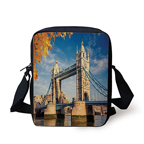 cal Construction Tower Bridge with Mossy Abutments Autumnal Leaves,Yellow Blue Ivory Print Kids Crossbody Messenger Bag Purse ()