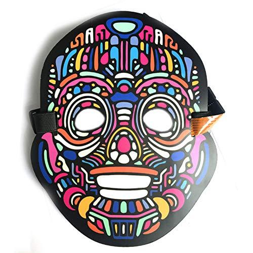 (iBaste Sound reaktive LED Maske Ton Aktiviert Perfekt für Festival Dance Party Halloween-Kostüme (B))