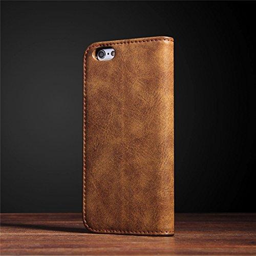 Für iPhone 6 & 6s Bronze Textur Casual Style Horizontal Flip Stand Leder Tasche mit Halter & Card Slots by diebelleu ( Color : Dark blue ) Brown