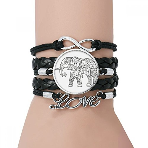 (DIYthinker Damen Malen Elephant Freund Tooth Armband Liebe Schwarz Verdrehte-Leder-Seil-Armband)