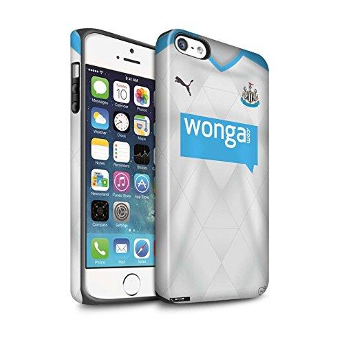 Offiziell Newcastle United FC Hülle / Matte Harten Stoßfest Case für Apple iPhone SE / Rivière Muster / NUFC Trikot Away 15/16 Kollektion Fußballer
