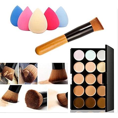 FEITONG Colores de maquillaje Corrector Contorno Paleta + Agua Esponja Puff + cepillo del