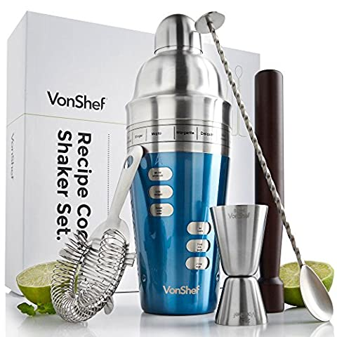 VonShef Luxury Blue Cocktail Shaker Set with Menu 15 Recipe