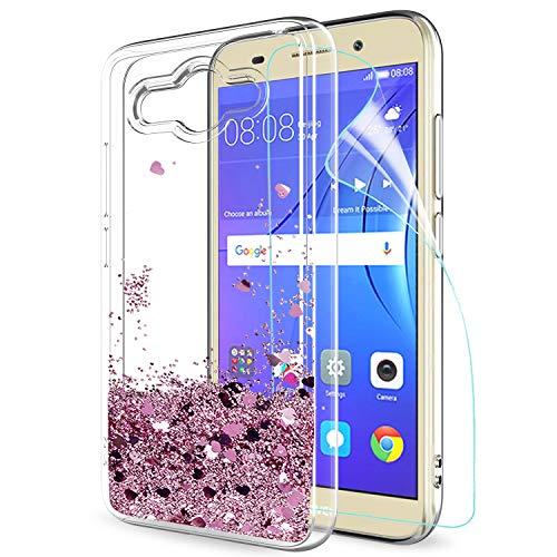 LeYi Hülle Huawei Y3 2017 / Y5 Lite 2017 Glitzer Handyhülle mit HD Folie Schutzfolie,Cover TPU Bumper Silikon Treibsand Clear Schutzhülle für Case Hua