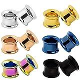 D&Min Jewelry 12er Set/ 6-Farben Schraub Hollow Edelstahl Tunnel Plugs (5mm)